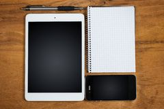 Objects on the table. Electronic, technology. Objects on the table Royalty Free Stock Photo