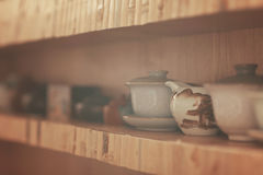Objects for tea ceremony. On wooden table stock images