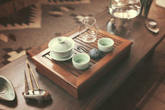 Objects for tea ceremony. On wooden table Royalty Free Stock Images