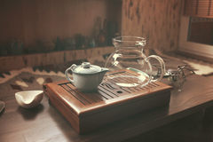 Objects for tea ceremony. On wooden table royalty free stock image