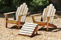 Objects: 2 teak wood chairs - finsihed Royalty Free Stock Images