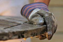 Objects: Teak wood table being refinished. Stock Photography