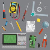 Objects for technology engineer workshop environment. A collection of  objects for technology engineer workshop environment. Tools and devices for drafts Royalty Free Stock Photos