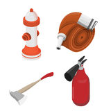 Objects to deal with dangerous situations. Vector isometric illu Royalty Free Stock Photo