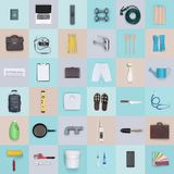 Objects and tools background. Mixed objects, items and tools on checked background Royalty Free Stock Image