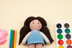 Objects, tools for creativity, drawing, children`s crochet crochet - the concept of children`s creativity. stock images
