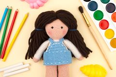 Objects, tools for creativity, drawing, children`s crochet crochet - the concept of children`s creativity. stock photos