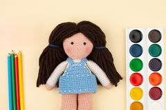 Objects, tools for creativity, drawing, children`s crochet crochet - the concept of children`s creativity. royalty free stock photos