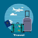 Objects of tourism and travelings, flat style. Stock Image