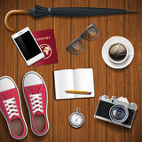 Objects for travel on a wooden background. Hipster style. Stock Stock Images