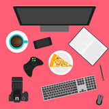 Objects used in everyday life of modern people. flat style. Royalty Free Stock Photo