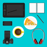 Objects used in everyday life of modern people. flat style. Stock Photo