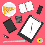 Objects used in everyday life of modern people. flat style. Royalty Free Stock Image