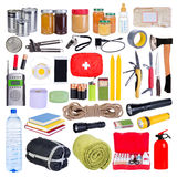 Objects useful in emergency situations such as natural disasters. Isolated on white background Royalty Free Stock Images