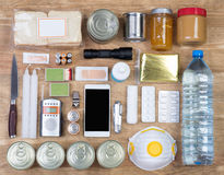 Objects useful in emergency situations such as natural disasters. Top view Stock Photo