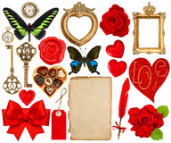 Objects for Valentines Day scrapbook. Paper page, red hearts, ph Stock Photo