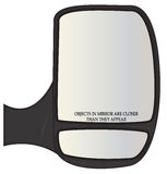 Objects In Van Side Mirror Closer. A van side mirror with warning text isolated on a white background stock illustration