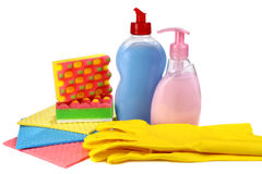 Objects for washing and cleaning up on kitchen Stock Photos