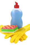 Objects for washing and cleaning up on kitchen Royalty Free Stock Images