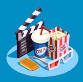Isometric Cinema Icon Set. Objects for watching movie at cinema and clapper isometric icon set on blue background 3d vector illustration Stock Photos