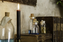 Objects of witchcraft to make magic. Witchcraft objects to do magic, detail of belief and mystery, fear Royalty Free Stock Images