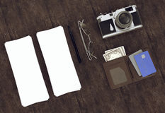 Objects on wood background. Royalty Free Stock Photo