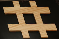 Objects: wooden hashtag Stock Photos
