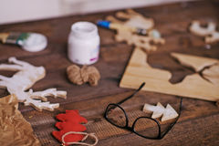 Objects on wooden table Stock Photos