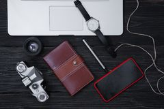 Layout items for work, travel, vacation planning stock image