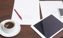 Objects of a young entrepreneur, workplace, business plan for a successful startup.  royalty free stock photos
