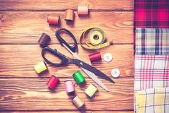 Objekt för att sy eller DIY Arkivfoton