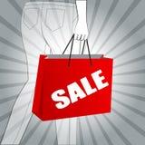 Objekt för design för Sale shoppingpåse vid vektorillustrationen Royaltyfri Foto