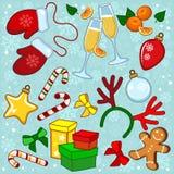 Objekt för det nya året stock illustrationer