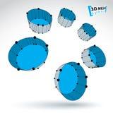 objekt för färgrik cylinder för ingrepp 3d abstrakt på vitbaksida Fotografering för Bildbyråer