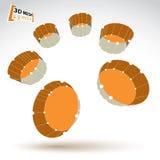 objekt för färgrik cylinder för ingrepp 3d isolerat abstrakt Royaltyfria Bilder