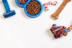 objekt för fokus för hund för bakgrundsomsorgsmaträtt isolerade kopplar förgrund grund vattenwhite Torr älsklings- mat i bunke, l royaltyfria foton