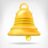 Objekt för guld- klocka som 3D isoleras på vit Royaltyfri Bild