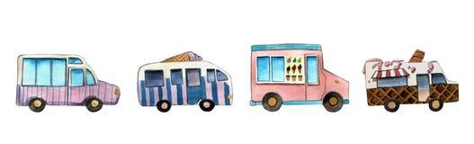 Objekt för maskin för för vattenfärgillustrationskåpbil och glass färgrikt isolerat på vit bakgrund för annonsering stock illustrationer