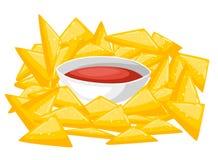 Objekt för mat för NachosChips With Traditional Mexican Cuisine maträtt från illustration för kafémenyvektor vektor illustrationer