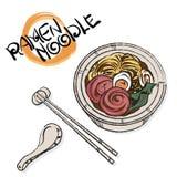 Objekt för soppa för kokkonst för Ramen för nudel för matvektor japanskt stock illustrationer
