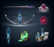 Objekt med gemstones royaltyfri illustrationer