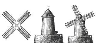 Objekt mycket av väderkvarnar på en vit bakgrund Fotografering för Bildbyråer