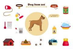 Objekt och material för omsorg för hundobjektuppsättning Beståndsdelar runt om hunden Arkivfoton