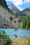 Objekten av forntida kult i röjningen av förebilderna på kusterna av sjön Shavlinskoye Berg Altai, Ryssland arkivbilder