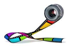 Objektiv- u. Farbenfilmstreifen auf Weiß Lizenzfreies Stockfoto