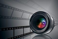 Objektiv- u. Filmstreifen auf Schwarzem Stockbilder