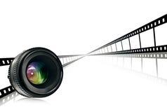 Objektiv- u. Filmstreifen auf Weiß Stockfotografie