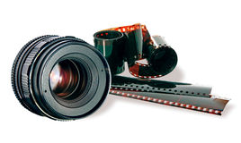 Objektiv- u. Filmstreifen auf Weiß Stockfotos