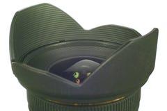 Objektiv und Objektivhaube marco Lizenzfreie Stockfotografie
