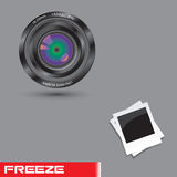 Objektiv-und Polaroid-Foto-Feld - ENV-Vektor Stockfoto